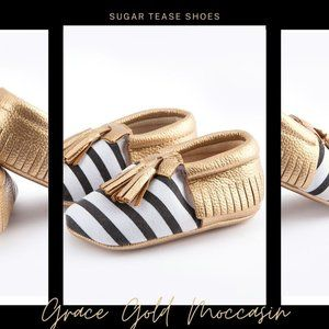 Grace Gold Baby Moccasin Shoes - Sugar Tease